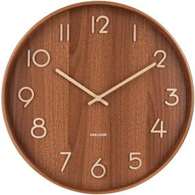 Ceas de perete din lemn de tei Karlsson Pure Medium, maro, ø 40 cm