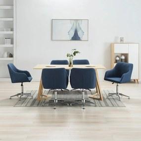 278436 vidaXL Scaune de sufragerie pivotante, 6 buc., albastru, textil