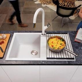 Chiuveta bucatarie granit CookingAid Amanda AM7810 Alba / Polar White reversibila stanga/dreapta cu picurator + accesorii montaj