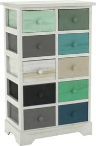 Comodă, alb/sertare colorate, MONET 2