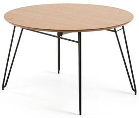Masă extensibilă de dining cu blat cu aspect de lemn de stejar La Forma Novaks, ø 120 cm