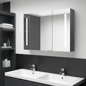 326527 vidaXL Dulap de baie cu oglindă și LED, gri, 89x14x62 cm
