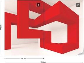 Fototapet GLIX - 3D Red Structure  + adeziv GRATUIT Papírová tapeta  - 254x184 cm