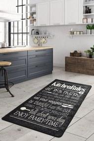 Covor pentru bucatarie Kitchen Motto Negru - 140x190 cm