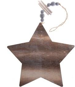 Decorațiune suspendată din lemn Dakls, lungime 22,5 cm, stea