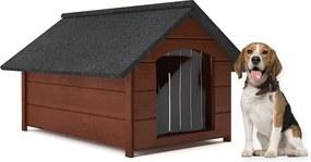 Cusca de exterior pentru Caini talie medie, din lemn, marimea L, culoare Maro