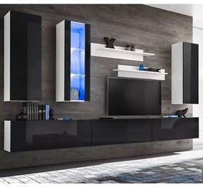 Mobilier sufragerie, spațiu TV 8 piese, lumini LED Negru lucios