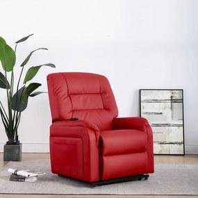 249913 vidaXL Fotoliu TV rabatabil electric vertical, roșu, piele ecologică