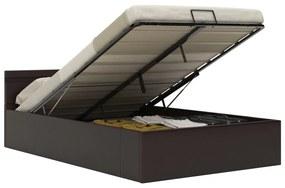 285554 vidaXL Cadru pat hidraulic cu ladă LED gri 120x200 cm piele ecologică