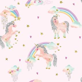 Tapet - Arthouse Rainbow Unicorn Rainbow Unicorn Pink