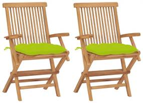 3062513 vidaXL Scaune de grădină cu perne, 2 buc., verde, lemn masiv de tec
