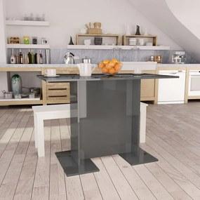 800251 vidaXL Masă de bucătărie, gri lucios, 110 x 60 x 75 cm, PAL