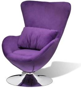 241177 vidaXL Scaun ou rotativ, cu pernă, violet, catifea, mic