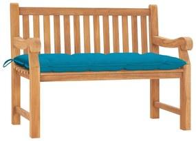 3062974 vidaXL Bancă de grădină cu pernă, 120 cm, lemn masiv tec
