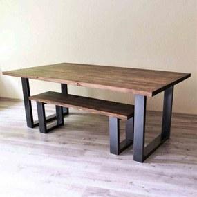 Masa cu Bancheta din Lemn Masiv culoarea Nuc, 180x80x75 cm
