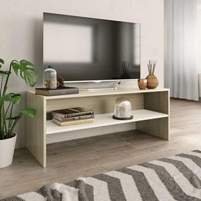 800050 vidaXL Comodă TV, alb și stejar sonoma, 100 x 40 x 40 cm, PAL