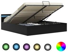 285544 vidaXL Cadru pat hidraulic cu ladă LED negru 160x200cm piele ecologică