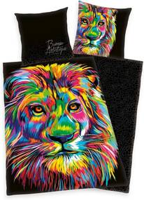 Lenjerie de pat din satin Bureau Artistique - Colored Lion, 140 x 200 cm, 70 x 90 cm