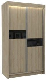 Expedo Dulap cu uși glisante ADRIANA, 120x216x61, sonoma/sticlă neagră