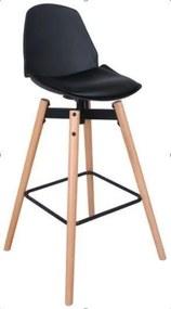 Scaun de bar, scaun inalt, scaun moale, inaltime: 104 cm, negru - czarny