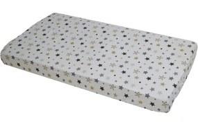 Cearceaf din bumbac cu elastic Stars Cream and Grey pe alb 120x60 cm