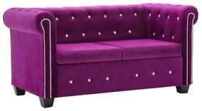 247146 vidaXL Canapea Chesterfield 2 locuri, catifea, 146x75x72 cm, violet