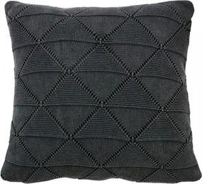 Perna decorativa patrata gri carbune din bumbac 45x45 cm Boris Charcoal Woood