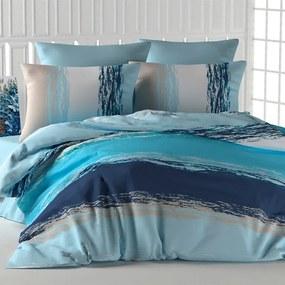 Lenjerie de pat din bumbac THICK LINE albastru lungime standard