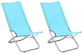 310380 vidaXL Scaune de plajă pliante, 2 buc., turcoaz, material textil