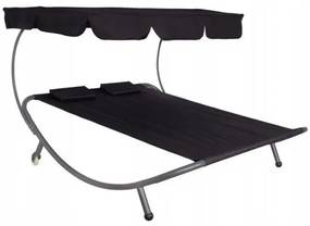Sezlong pentru gradina, dublu, metalic, cu parasolar si 2 roti, negru, 175x200 cm, Springos