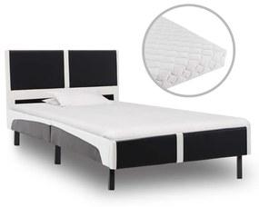 277530 vidaXL Pat cu saltea, negru și alb, 90 x 200 cm, piele ecologică