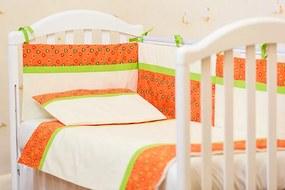 Lenjerie patut bebe cu 3 piese Inimioare portocalii 120 x 60cm