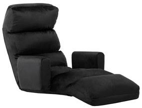 288578 vidaXL Canapea extensibilă de podea, cu brațe, negru, material textil
