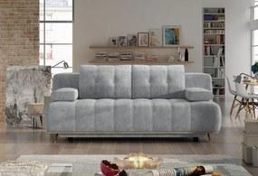 Canapea extensibila cu lada de depozitare, tapitata cu stofa 3 locuri Honey Gri deschis, l206xA102xH87 cm