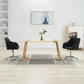 283485 vidaXL Scaune de sufragerie pivotante, 2 buc., negru, textil