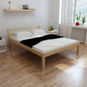 271801 vidaXL Pat cu saltea, 140 x 200 cm, lemn de pin masiv
