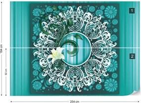 Fototapet GLIX - Vintage Pattern Green + adeziv GRATUIT Tapet nețesute - 254x184 cm