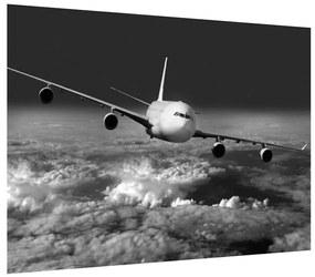Tablou alb negru cu avion în nori (K012205K7050)