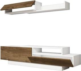 Set comodă TV și poliță perete cu detalii cu aspect de lemn de nuc Ratto Elda, alb