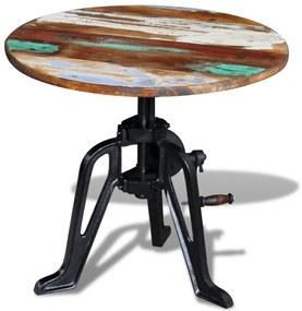 243296 vidaXL Masă laterală din lemn reciclat solid, cadru fier, 60x(42-63)cm