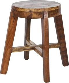 Taburet Inca din lemn recuperat - Maro