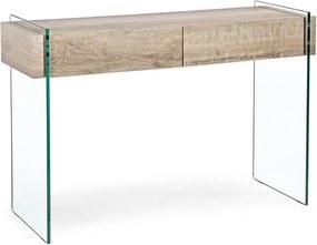 Consola cadru sticla cu polita mdf natur Kenya 110 cm x 40 cm x 75 h