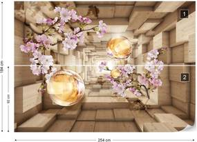 Fototapet GLIX - 3D Tunnel Cherry Blossom Flowers  + adeziv GRATUIT Tapet nețesute - 254x184 cm