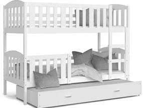 Expedo Pat supraetajat copii cu pat suplimentar KUBA 3 COLOR + saltea + somieră GRATIS, 190x80, alb/alb