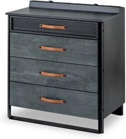 Comoda din pal si metal cu 4 sertare, pentru tineret Dark Metal Black / Graphite, l78xA48xH88 cm