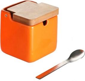Set zaharniță și linguriță Versa Spoon Wood, portocaliu