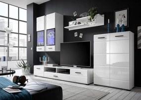 Set mobila living ALASKA, mdf alb lucios, iluminare led inclusa, 285x190x40 cm