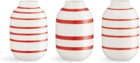 Set 3 vaze din porțelan Kähler Design Omaggio, alb-roșu