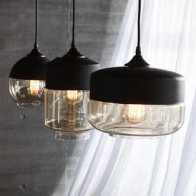 Lampa Suspendata Sferica din Sticla si Metal - Metal Negru dia. 20 x h 23cm
