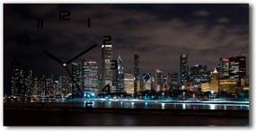Ceas de perete modern din sticla Chicago noaptea